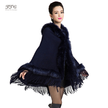2015 New Fashion Winter Long Wool Cashmere Faux Fox Fur Coat Cardigan For Women Poncho Knitted Sweater Women Scarves