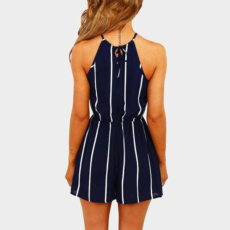 Playsuits Summer Short Overalls Woman Striped Short Sleeve Shorts Jumpsuits New Fashion Office Ladies Beach Boho Tops And Pants