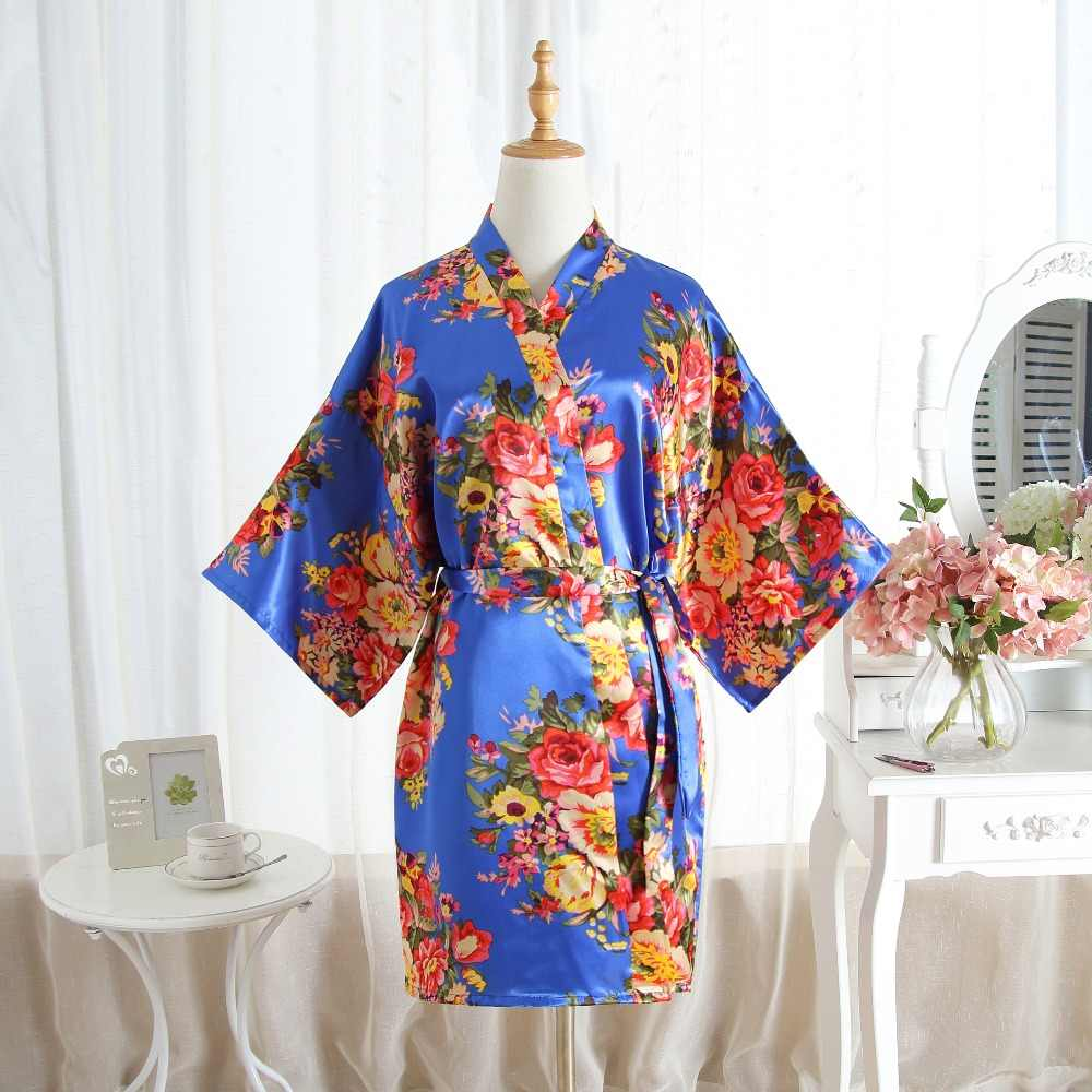 3492c967a5 Silk Satin Wedding Bride Bridesmaid Robes Floral Bathrobe Short Kimono Robe  Night Robe Bath Robe Fashion