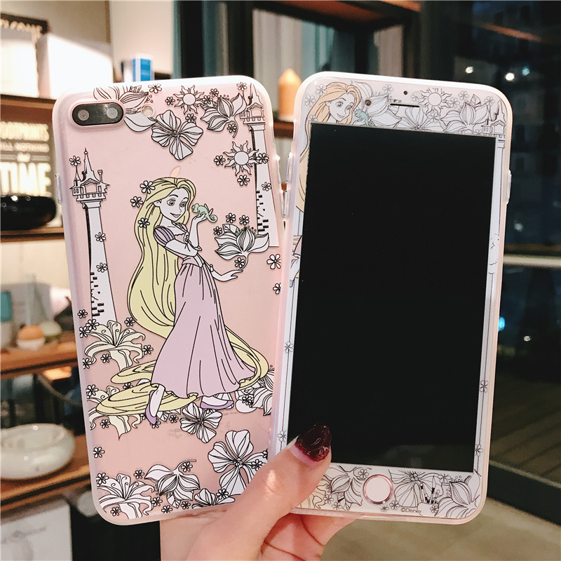 For iPhone 7 7Plus Pricess Case + Tempered Glass Screen film , Cute Mermaid Alice TPU Cover for iPhone 6 6S 6SPlus 8 8plus case