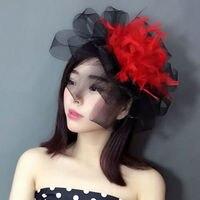 Vogue Stijl Vintage Gothic Zwart Mesh Rode Bloem Veer Haar Clip Grote Vrouwen Fancy Prom Party Bloemen Haarspeld Hoofdtooi Nieuwe