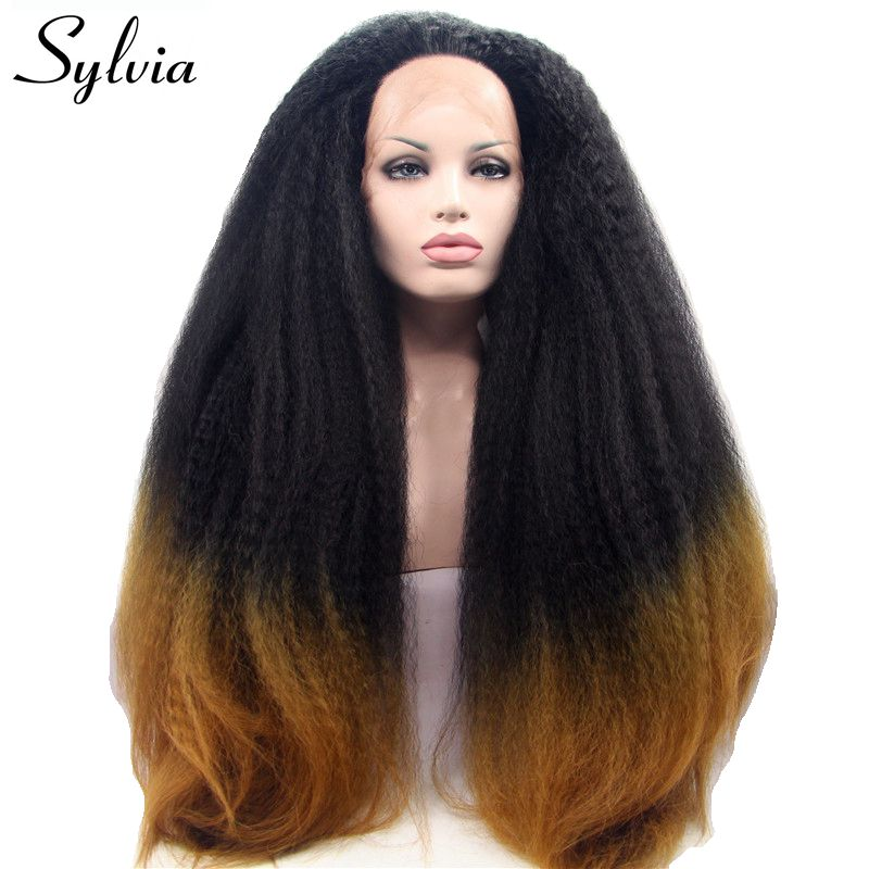 Sylvia Black to Brown Two Tone Ombre Kinky Straight Synthetic Lace Front Wigs Heat Resistant Fiber