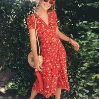 2018 summer dress boho vintage wrap cherry floral print red maxi beach dress v neck sexy retro party dress