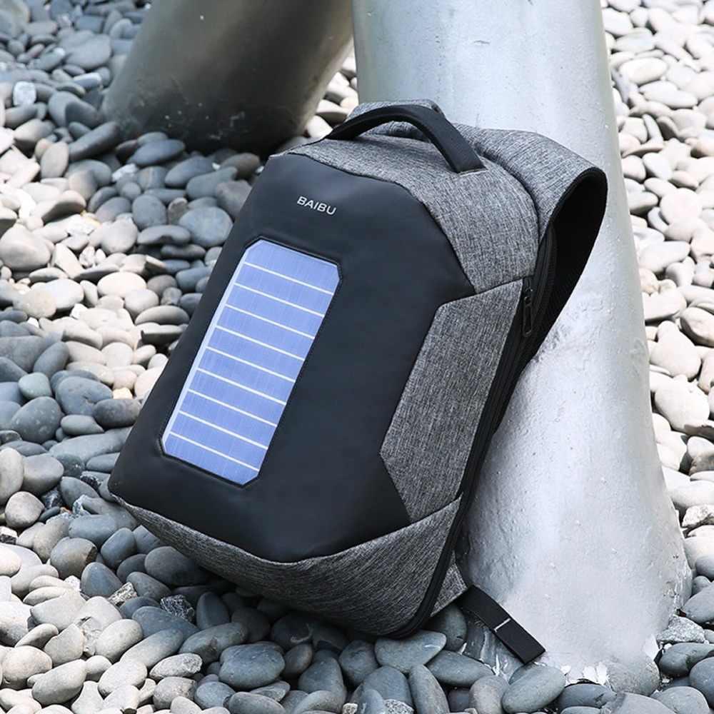 Urbain Anti-vol sac à dos externe USB charge sac d'école hommes pochette d'ordinateur loisirs voyage solaire Rechargeable intelligent étanche