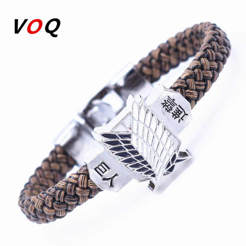 Hot Sell Attack on Titans Wings of Liberty Alloy Bracelets for Man Boy Anime Cosplay Survey Corps Leather Bracelet Men Jewelry