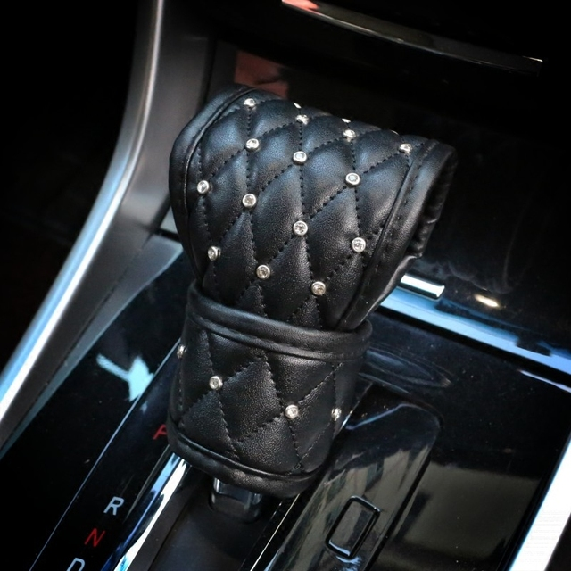 Car Shifter Covers Car Handbrake Grips Cover Set Leather with Crystal Rhinestone Black Car Interior Accessories For Women Girls