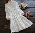 Gola de babados mori menina 3D padrão sólido cotton manga comprida breve vestido
