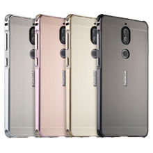 For Nokia 7 Case Luxury Aluminum Bumper Nokia7 Brushed Metal Hard PC Back Cover Phone Bag 5.2