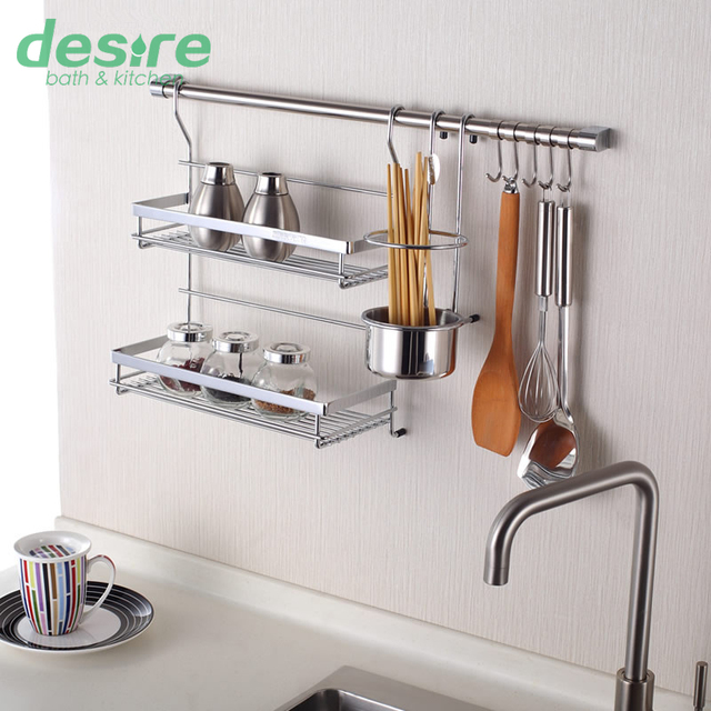 Good Wall Shelf Kitchen Storage Rack Including Double Flavoring Rack Chopstick  Holder 60cm Hanging Rod And 5
