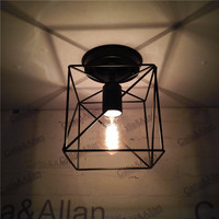 Iron Edison Vintage Retro Lampshade Ceiling Light Fitting Lamp Guard Wire Cage Lighting Fixture Bar