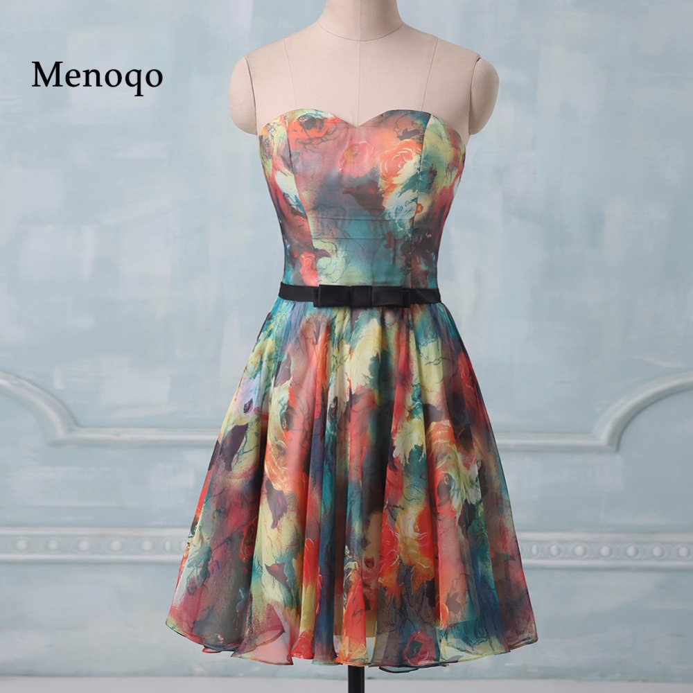 PRD274 Real Photo Hot selling 2019 A line Sweetheart Chiffon mini short party   dresses   Floral Flower printed   cocktail     dress