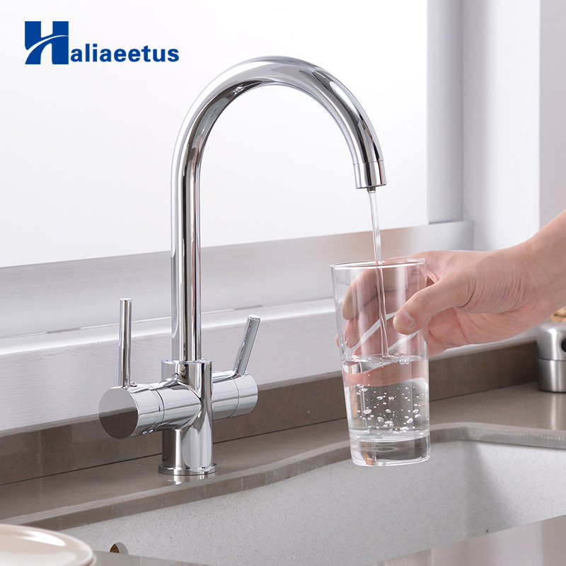 Purification Features Dual Handle Sink Filtered Taps Mixer Crane Kitchen Drinking Water Faucets 360 Degree Rotation With Water