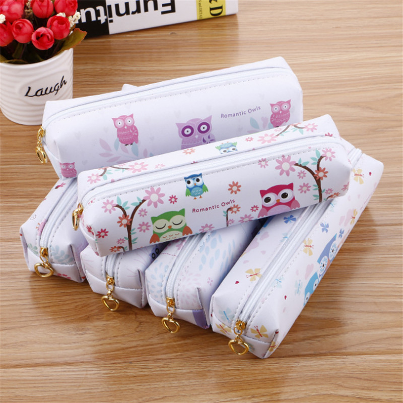 New stationery box owl pencil case school supplies large capacity pencil box creative floral lovely pencil case