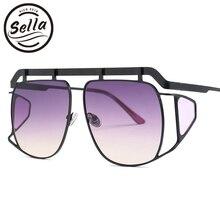 Sella New Trending Oversized Irregular Goggle Sunglasses Women Men Punk Styles Gradient Lens Alloy Frame Summer Sun Glasses