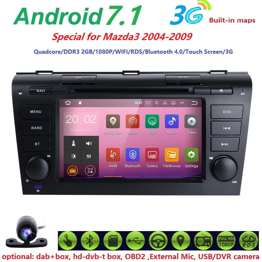 2G RAM 1024 600 QuadCore 16G 7 Pure Android 7 1 Car DVD Player for MAZDA