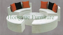 Brown color garden wicker high back sofa set furniture garden sofa