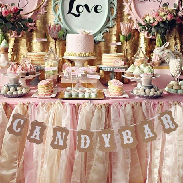 FENGRISE Candy Bar Kraft Paper Cardboard Bunting Banner Garland Vintage Wedding Decor Sign Baby Shower Birthday Party Buffet