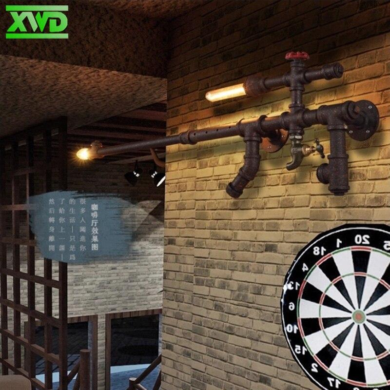 Американские водопроводные трубы форма пистолета настенная лампа E27 держатель лампы Кофейня/столовая/фойе/магазин винтажное Внутреннее ос