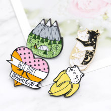 Cartoon Black and white Cat hugging Peeled banana Camping Mountain Tent Big Butt Bigger Heart Brooch Badge Women Lapel Pins Gift(China)