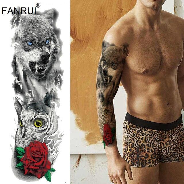 Wolf King Water Transfer Fake Flash Tattoo Arm Sleeve Men Big Body
