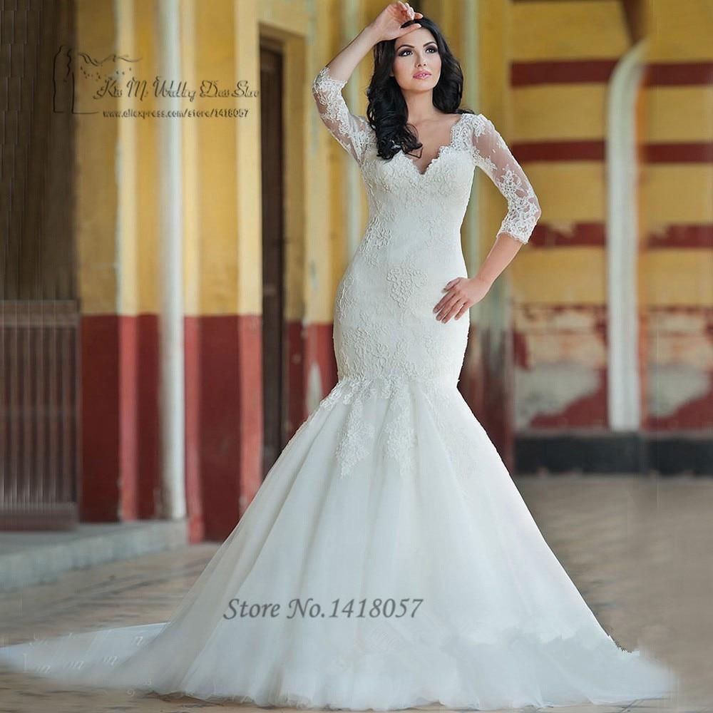 Vintage Greek Mermaid Wedding Dresses 3/4 Sleeves Lace Bridal Dress ...