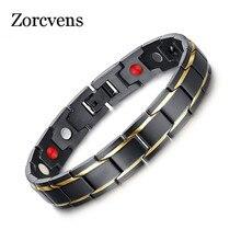 ZORCVENS 2020 New Men Health Bracelets & Bangles Magnetic Power Stainless Steel Charm Bracelet Jewelry For Man