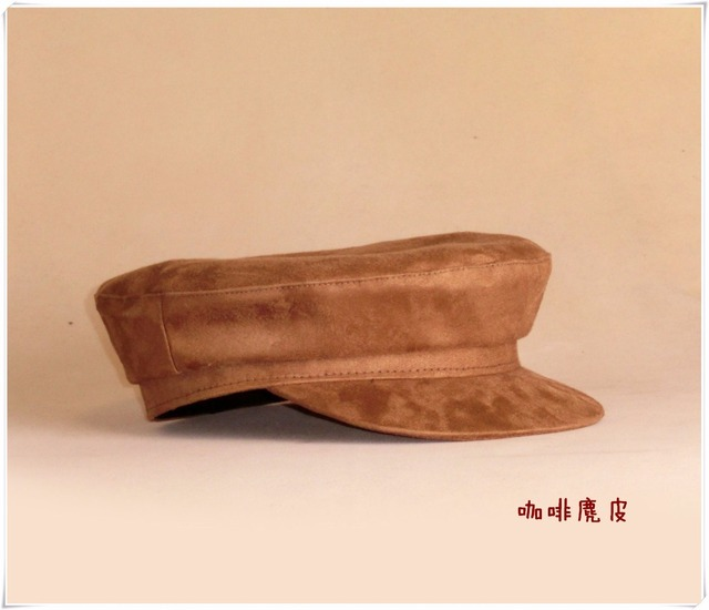 689860df810b2 Chamois Leather Military Hat Boys Girls Flat Top Army Cap Custom Size Navy  Hat Browm Blue Color For Men Women