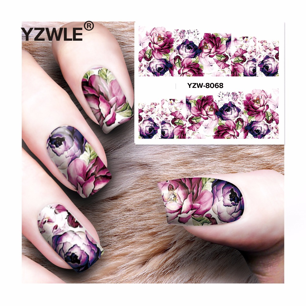 YZWLE 1 Sheet DIY Decals Purple Rose Nails Art Water Transfer Printing Stickers Accessories For Manicure Salon YZW-8068 yzwle 1 sheet hot gold 3d nail art stickers diy nail decorations decals foils wraps manicure styling tools yzw 6015