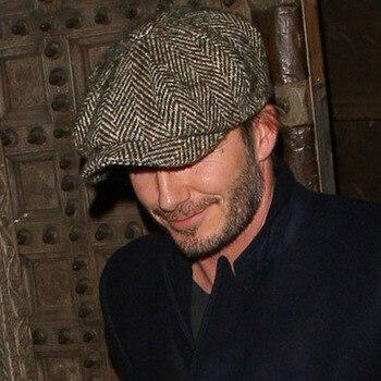 c98eac332ecb8b Fashion Herringbone Tweed Gatsby Newsboy Cap Men Wool Ivy Hat Golf Driving  Flat Cabbie Flat Unisex Berets Hat