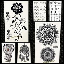Waterproof Temporary Tattoo Sticker Women Flash Tattoo Mandala Design GH073 Black Henna Tattoo Body Arm Art Legs Indian Totem