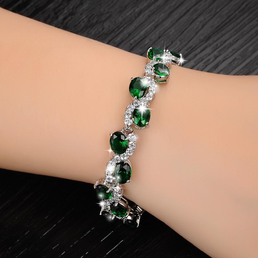 Plated White Gold Hand Chain Green Crystal Diamond Bangle Fashion ...