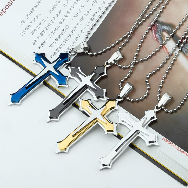 new Men's Cool  3 Layer Cross Stainless Steel Cross Pendant Free Chain Necklace Accessories Cross Necklace