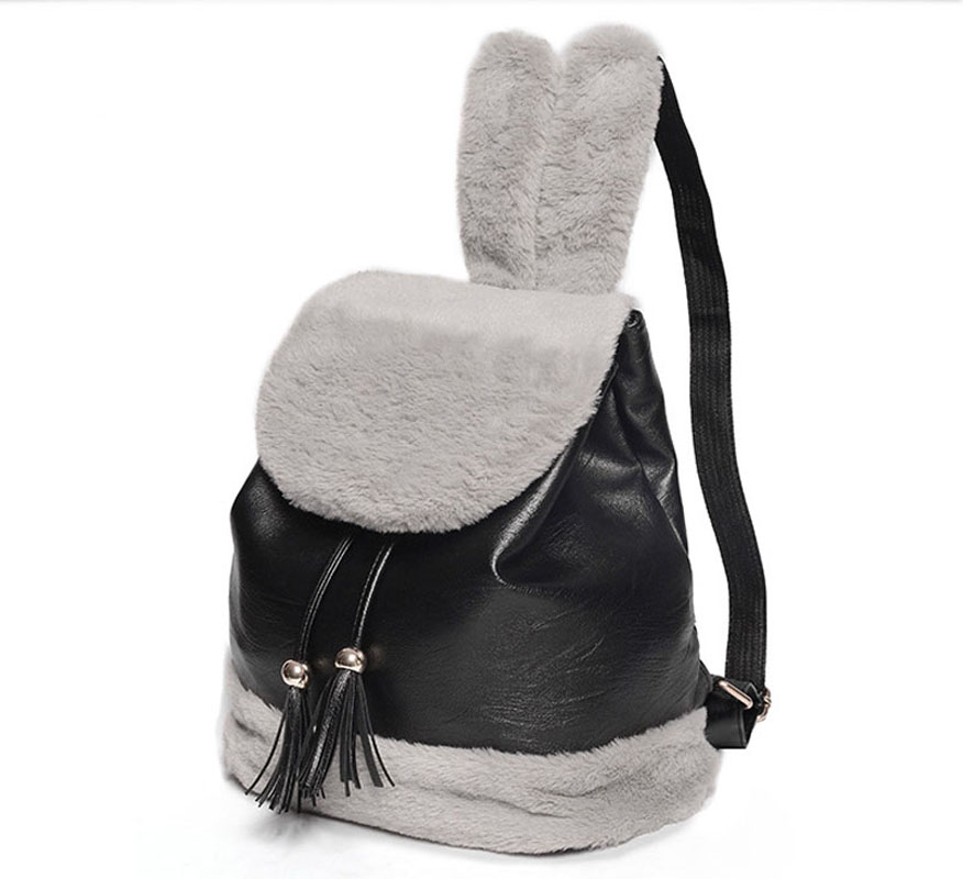Women's Backpack Fashion Women Cute Rabbit Plush Backpack High Quality PU Leather Tassel School Bag for Teenager Girls mochila high quality cool 3d spiderman cartoon plush school bag fashion cute backpack gift for children mochila infantil hot sale
