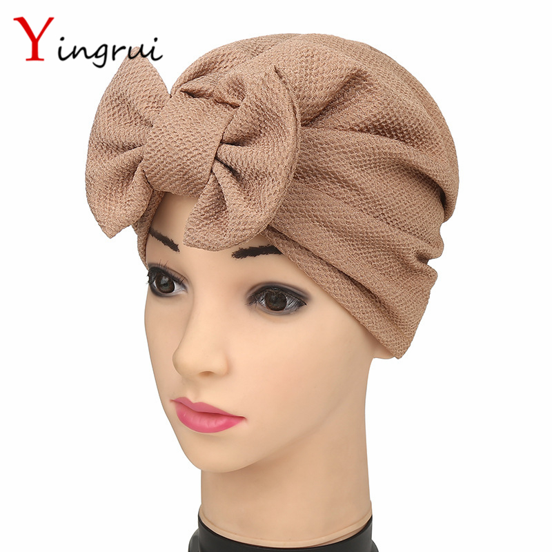 Fashion India Women Turban Beanie Elegant Bow Headwrap Muslim Ladies Hat Cap Bowknot Solid Bandanas For Adult pastoralism and agriculture pennar basin india