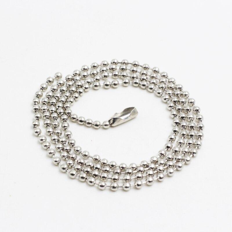 Модные Серебристые шарик Цепочки и ожерелья Высокое качество 2 мм * 60 см Нержавеющаясталь круглый Бусины Цепи Для мужчин Для женщин ювелирные изделия