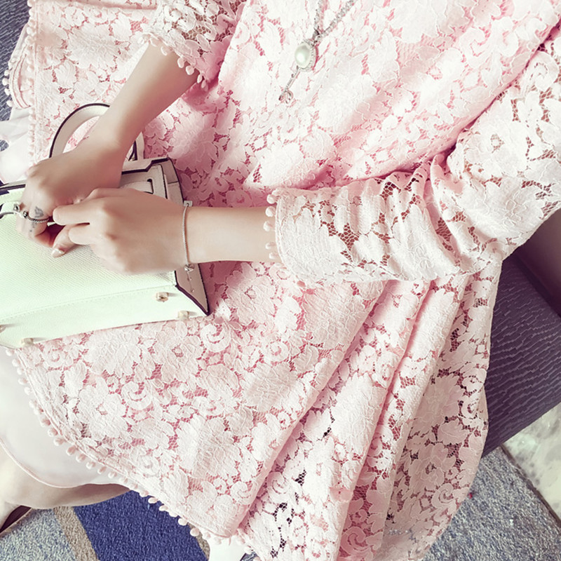 a89e92314a67d Pregnant Women Solid Lace Short Dress Cute Luxury Pregnancy Clothes  Irregular Hem Long Sleeve Maternity Dresses Pink Sky Blue-in Dresses from  Mother & Kids ...