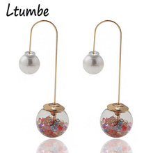 Ltumbe Fashion Gold Color Double Sides Big Crystal Ball Earrings Long Hang Shining Pearl Stud Earrings For Women Party Jewelry цена в Москве и Питере