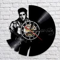 Elvis Presley Wall Clock The King Of Rock Clocks Modern Design Vinyl Record Wall Watch Quartz Mechanism 3D Decorative Hanging