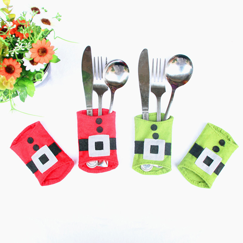 1Pc Christmas Santa Suit Table Placemat Santa Claus Home Tableware Knives Forks Place Mat Table Xmas Decorations New