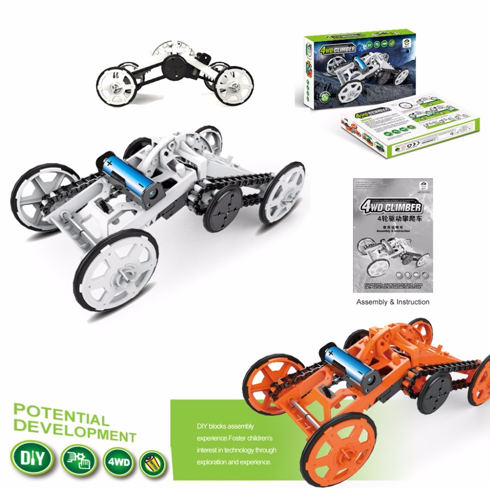 Building Blocks Electric DIY Model Four Wheel Drive Car DC Motor Technology Self Assemble Toys for Children and Students j52b diy technology model making solar energy dc motor electric fan hand making teaching students use sale at a loss brazil