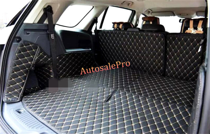 Waterproof Car Interior Rear Trunk Hatch Back Floor mats Pad Carpets Cover grid For Ford Everest Endeavour 4Dr SUV 15-16 for mazda cx 5 cx5 2nd gen 2017 2018 interior custom car styling waterproof full set trunk cargo liner mats tray protector