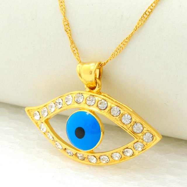 Turkey Blue Evil Eye Pendant Chain Gold Filled Womens Lady Ethnic Jewelry  Fashion Accessories Gift ff7478143c