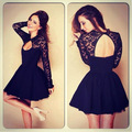 Hot Style 2015 New Fashion Sexy Dress Lady's Summer Black Lace Blackless Long Sleeve Dress