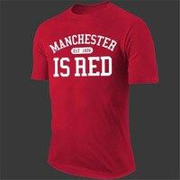 2016 New Fashion Manchester City Shirt United Kingdom Red Letter Print T Shirt Cotton Short Sleeve