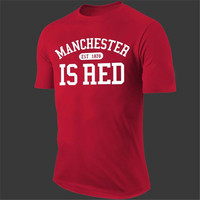 2016 New Fashion Manchester City Shirt United Kingdom Red Letter Print T Shirt Cotton Short Sleeve