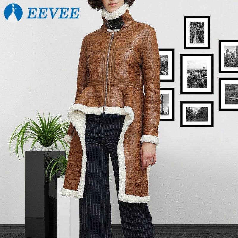 2018 Slim Fourrure Veste S Et Laine Tempérament Femme Court Taille Col Irrégulière Marron Mode De Chaud Épais Manteau Coton Haut xl gr51gqw7x