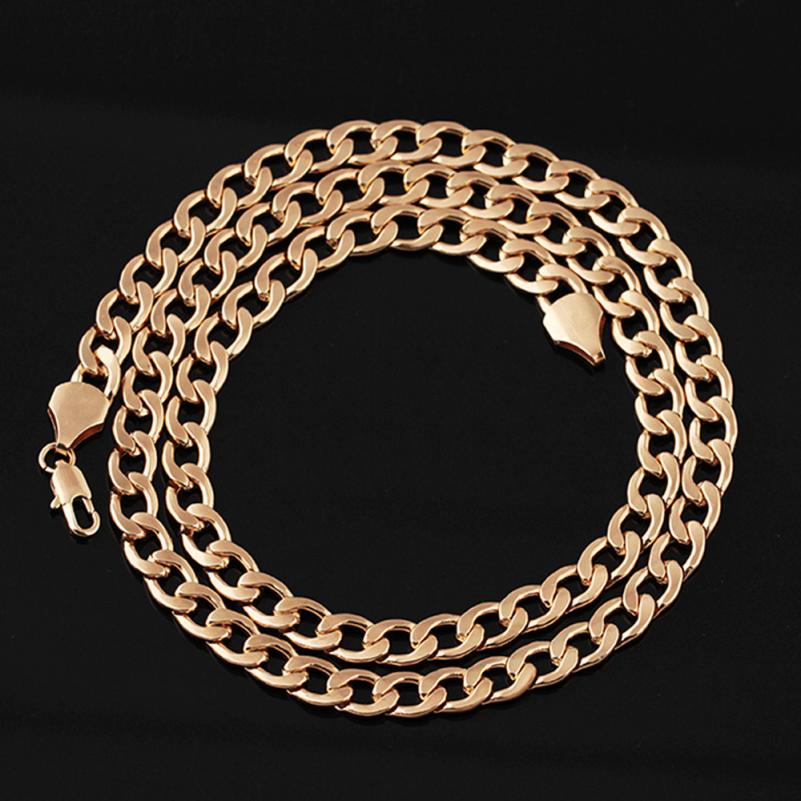 OTOKY Chain Necklace Hip Hop Mens Curb Cuban Chain Gold Filled Necklaces Jewelry Daily Wear 61cm chain necklace jun2818