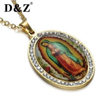 c3d738aa6a06 D   Z esmalte Beata Virgen María collar oro Color acero inoxidable Virgen  María colgantes collares para joyería religiosa católica