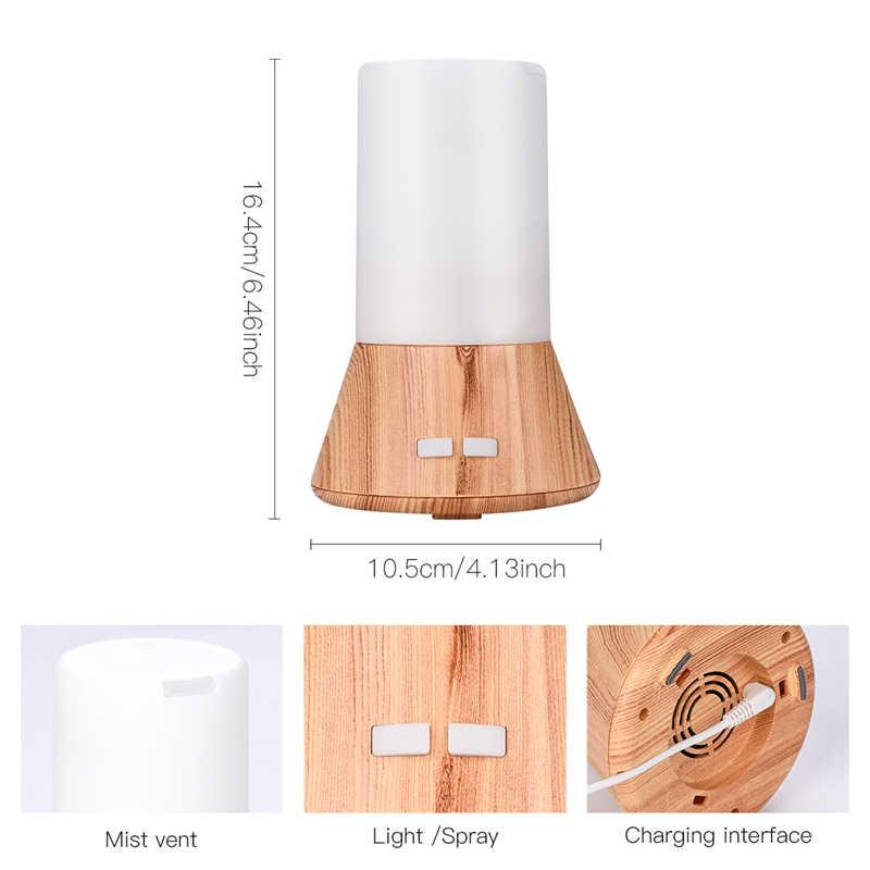 بلوتوث بالموجات فوق الصوتية الهواء المرطب رائحة من الضروري النفط الناشر الخشب الحبوب 7 اللون تغيير الصمام أضواء ضباب صانع مبيد P50