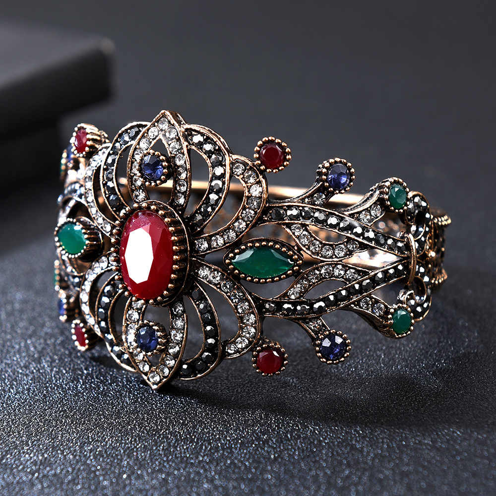 Vintage Openwork Carving Cuff Bracelets & Bangles for Women Blue Red Crystal Ethnic Style Big Wide Statement Retro Jewellry
